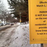 Usually lined with cars, the south side of Selby Avenue is now empty after the city of St. Paul restricted parking on the even sides of residential roads to help emergency vehicles get down the streets narrowed by snow. (Simeon Lancaster/TommieMedia)