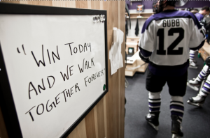 """Win today and we walk together forever"" is written on the wall in the locker room. St. Thomas will face UW-Stevens Point on Saturday, March 15."