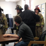 The St. Paul Fire Department responds to a small fire in the TommieMedia newsroom Monday afternoon. (Gabi Martinson/TommieMedia)