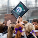 The St. Thomas softball team celebrates their MIAC championship. The Tommies will take on Augustana College in the first round of the NCAA tournament (Andrew Stafford/TommieMedia).