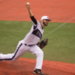 Pitcher Colin Wendinger throws a pitch in the MIAC tournament. St. Thomas defeated Rose-Hulman 9-3 Sunday to advance to the Division-III College World Series. (Morgan Neu/TommieMedia)