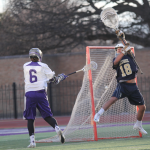 Sean Hickey fires a shot on goal in a game against Bethel earlier this season. St. Thomas defeated the Reinhardt Eagles 13-6 in the opening round of the MCLA Division-II national tournament Monday night. (Jake Remes/TommieMedia)