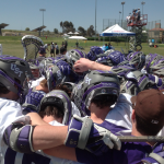 The St. Thomas club lacrosse team gathers together before a national tournament game on Tuesday in Orange, California. (Photo courtesy of Brian Schublooom)