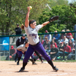 Pitcher Breezy Bannon delivers a pitch in the NCAA regional championship game. St. Thomas lost to Salisbury 1-0 Thursday afternoon in the first round of the NCAA Division-III Women's College World Series (Jake Remes/TommieMedia).