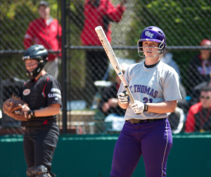Catcher Emily Gregory looks to third base before stepping into the batter's box in the NCAA regional championship game. Gregory's 2-for-2 performance led the Tommies offensively against Montclair State in an elimination game at Suddenlink Field. (Jacob Sevening/TommieMedia)
