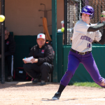 Left fielder Kirstin Bigelbach eyes a pitch in the second inning of game three of the super regional. St. Thomas was knocked out of the College World Series by Salisbury University in the Final Four Sunday afternoon. (Jacob Sevening/TommieMedia)