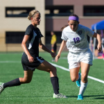 Senior captain Taylor Sabrowski rushes up the left wing. The St. Thomas women's soccer team notched its first win of the season Saturday, defeating Wisconsin-Stevens Point 2-0. (Jacob Sevening/TommieMedia)