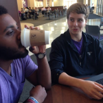 Junior Zachary Hurdle (left) enjoys a cup of coffee from Summit Marketplace while studying with senior Dan Lewis in the Anderson Student Center. Summit Marketplace stopped offering espresso drinks this semester. (Lauren Smith/TommieMedia)