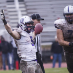 Running back Jack Kaiser celebrates his third touchdown in last year's 45-22 victory over St. Olaf. The Tommies have won five of the past six matchups against the Oles. (Andrew Stafford/TommieMedia)