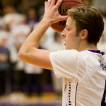 Guard Grant Shaeffer grips the ball on the wing in a playoff game against Bethel last season. St. Thomas starts the season with a host of veterans on the roster, including six players who have starting experience and 13 total letter winners. (Andrew Stafford/TommieMedia)