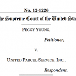 The brief for Young v. UPS seeks to shed light on pregnant women's rights compared to other employers in the workforce. St. Thomas law professors Thomas Berg and Teresa Collett wrote this Supreme Court brief in support of the plaintiff Peggy Young. (Courtesy of Thomas Berg, Theresa Collett)