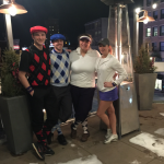 St. Thomas juniors Cole Olmschenk, Sam Taufen, Sarah Moon, and Taylor Ness sporting their award-winning uniforms. The team participated in the golf tournament last weekend in the Minneapolis skyways. (Photo courtesy of Sarah Moon)