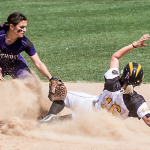 Second baseman Heather Kascht tags a Gustavus runner out at second base last weekend. Despite losing the MIAC championship, the St. Thomas softball team received an at-large bid to the NCAA Division-III tournament. (Jake Remes/TommieMedia)