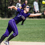 Shortstop Meg Dupuis dives to catch the ball. St. Thomas lost to Gustavus 6-0, but beat Bethel 5-0 in their second of two games at Bethel University Saturday. (Jake Remes/TommieMedia)