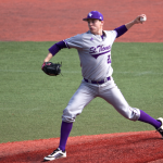 1.	Tommie pitcher Eric Veglahn strides toward the plate to deliver a pitch. The southpaw was fourth in the MIAC with 61 strikeouts this season. (Andrew Brinkmann/TommieMedia)