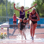 1.	Tommie Megan Gossfeld hurdles in the steeple chase. Gossfeld finished with a time of 12:08:69 on Saturday. (Andrew Brinkmann/TommieMedia)
