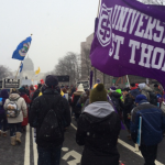 St. Thomas students walk in the March for Life Jan. 22 in Washington, D.C. as snow starts to fall. The group was stranded for four days as the massive storm pummeled the East Coast. (Bridget Gaughan)