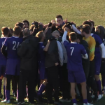 The St. Thomas men's soccer team celebrates its NCAA tournament success. (Courtesy University of Chicago)