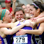 Members of the St. Thomas women's distance medley relay team celebrate their victory. The Tommies took first in the event at the NCAA Indoor Championships (Photo courtesy of Terry Goeman).