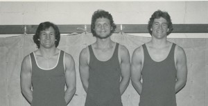 <p>Seniors Kevin McNamer, Tom Gehrz and Michael Hoffman from the 1978 season. The Tommies went on to win the MIAC championship in 1981 over Augsburg, a first in school history. (Photo courtesy of the St. Thomas Wrestling Alumni)</p>
