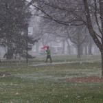 St. Thomas' spring was interrupted with a dose of snow on April 8. Despite the wintry conditions, the National Weather Service predicts only half an inch of accumulation Friday. (Claire Noack/TommieMedia)