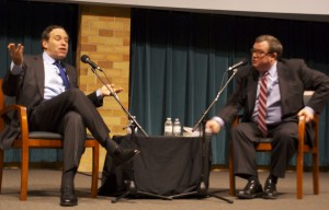 David Frum (left) and Tom Crann (right) go into depth on the changes needed in the Republican Party. Frum's discussion in the OEC auditorium attracted both students and alumni to the event Tuesday. (Alex Goering/TommieMedia)