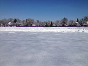 The view from home plate at a snow-covered Koch Diamond April 23. The No. 4-ranked baseball team has not played a game in 17 days. (Ross Schreck/TommieMedia)