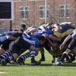 <p>The Blue Ox battle for position April 10 in the Macalester Cup. (Aaron Hays/TommieMedia)</p>