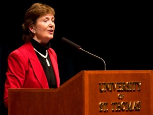 Former President of Ireland Mary Robinson spoke Monday night as part of the Luann Dummer Center for Women's celebration of Women's History Month. (Josh Kleven/TommieMedia)