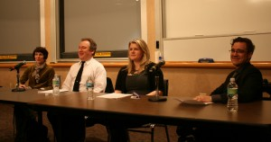 <p>From left to right: Carol Bruess, William Kinney, Sarah Gillaspey and C. Scott Rader answered questions from the audience regarding social media and its implications. (Dan Cook/TommieMedia)</p>