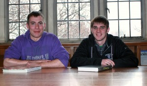 Senior Joe Cronin (left) and junior Joe Hubly were home-schooled before coming to St. Thomas. Both students have higher than average grade point averages. (Patrick Roche/TommieMedia)
