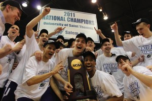 <p>The Tommies celebrate after becoming the 2011 NCAA Division III national champions. (Miles Trump/TommieMedia)</p>