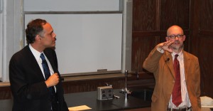 <p>Philosophers Christopher Tollefsen and Christopher Kaczor presented their arguments regarding the morality of lying. (Rachel Britton/TommieMedia)</p>