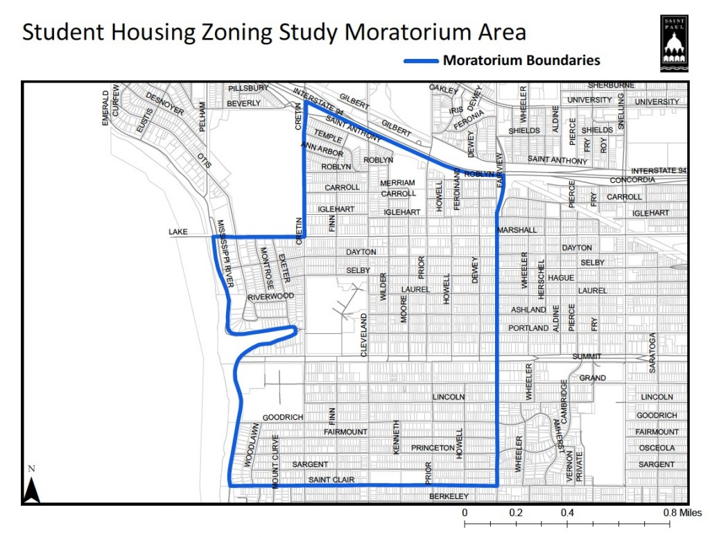This map outlines the proposed area where the moratorium would stretch. The St. Paul City Council will vote on these restrictions Aug. 24.