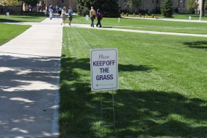 <p>The new quad's grass may be ready for students to walk on by Tommie-Johnnie. (Ryan Shaver/TommieMedia)</p>