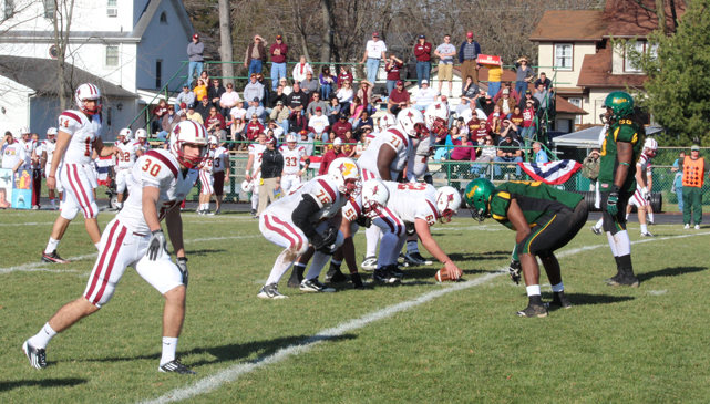 <p>St. John Fisher lines up on offense Saturday against Delaware Valley. The Cardinals won 27-14 and will play St. Thomas next Saturday in the quarterfinals. (St. John Fisher photo)</p>