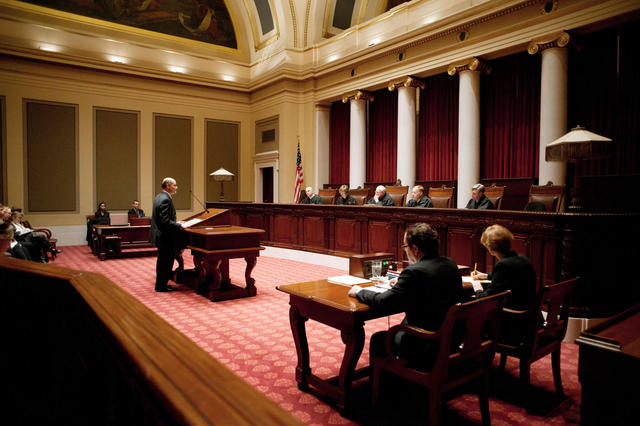 Attorney Jordan Kushner argues before the Minnesota Supreme Court on behalf of his client, former U of M student Amanda Tatro, on Wednesday, Feb. 13, at the capitol. Tatro sued the University over disciplinary actions it took after she posted comments on Facebook that administrators found threatening. (Mark Vancleave/Minnesota Daily)