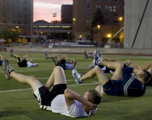 <p>ROTC students do crunches during their morning workout. Morrison residents have complained that ROTC students purposely try to wake them up. (Aaron Hayes/TommieMedia).</p>