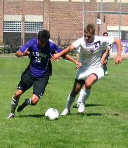 <p>Junior forward Nick Rapisarda powers up the field. Rapisarda's goal against the Cougars solidified his team's second shutout this season. (Meg Thompson/TommieMedia) </p>