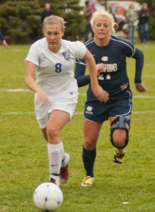 <p>Sophomore midfielder Nicole Lenz fights to keep the ball from senior forward Shyla Gilbertson. St. Thomas defeated Wisconsin-Eau Claire 1-0 Wednesday, Oct. 17. (Ali Stinson/TommieMedia)</p>