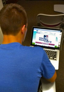 <p>Sophomore Matt Galloway updates his fantasy election team during his free time Wednesday, in the library.  According to MTV, 45 million 18-29-year-olds are eligible to vote in the upcoming election. (Kyle Jonas/TommieMedia) </p>