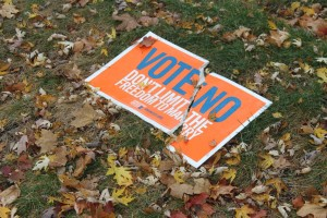 "<p>A ""Vote No"" sign lies torn in half in a lawn close to Cretin Avenue in St. Paul, Minn. St. Thomas Neighborhood Liason said neighbors have been placing blame on St. Thomas students. (Laura Landvik/TommieMedia.com)</p>"