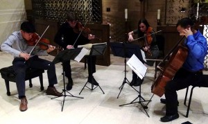 """<p>The Parker Quartet harmonizes in the lecture series All Hearts Listen on Halloween night. The group focused on Franz Schubert's """"Death and the Maiden."""" (Laura Landvik/TommieMedia) </p>"""