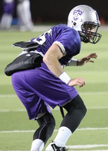 <p>Cornerback Ryan Deitz drops back in coverage during practice Tuesday Dec. 4. Deitz is fourth on the team in tackles (42). (Ross Schreck/TommieMedia)</p>