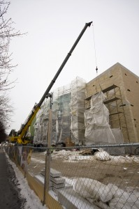 <p>Construction pushes forward, including putting up new brick and stone on the Anderson Athletic and Recreation Complex. (Josh Kleven/TommieMedia)</p>