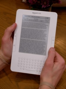 Toting 80-90 e-books on each, five Kindles are available for rent through the library. (Rebecca Omastiak/TommieMedia)