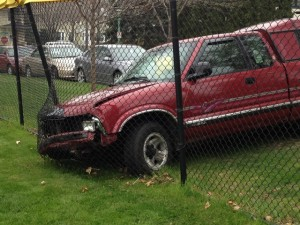 <p>The driver of the truck that knocked over a light pole and crashed into the baseball field's fence faces charges in connection with the accident. No one was injured. (Briggs LeSavage/TommieMedia)</p>