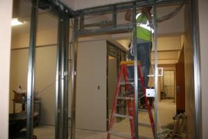 <p>Contruction crews transform Koch Fitness Center into a men's dormitory. (Rebekah Frank/TommieMedia)</p>