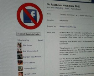 <p>A Facebook page, started by sophomore Brandon Miranda, promotes shutting down the social networking site during November. (Ryan Shaver/TommieMedia)</p>