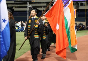 International students have the opportunity of representing their home country by carrying in their country's flags.
